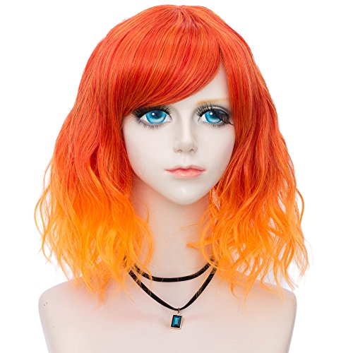 Amback Probeauty Sweety Collection Lolita 40CM Short Curly Women Lolita Anime Cosplay Wig + Wig Cap (Red Mix Orange 40) -