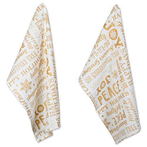 DII Cotton Decorative Christmas Metallic Dish Towel 18 x 28 Set of 2, Oversized Kitchen Dish Towels, Perfect Holiday, Hostee, Housewarming Gift-Christmas Collage Gold