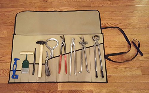 10 Piece Farrier's Tool Kit Set Horse Hoof Nippers Clincher Tester Knife Rasp Chisel Shears Floats Equine Dental + Fold Up Case by Equipment Essentials