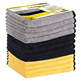 MATCC Microfibre Cleaning Cloths Pack of 12 Car Microfiber Cloth Lint Free Super Absorbent Car Microfibre Towel for Wash Waxing Polishing and Drying Detailing Towel(16'' x 16'')