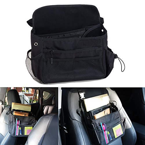 ZSZBACE Car Seat Organizer- Adjustable Straps- Front Seat Tablet Storage- Car Pocket