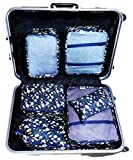 my FL 6pcs Packing Cubes For Carry on Backpack Organizers Set with Shoes Bag Travel Luggage (Blue Fish)