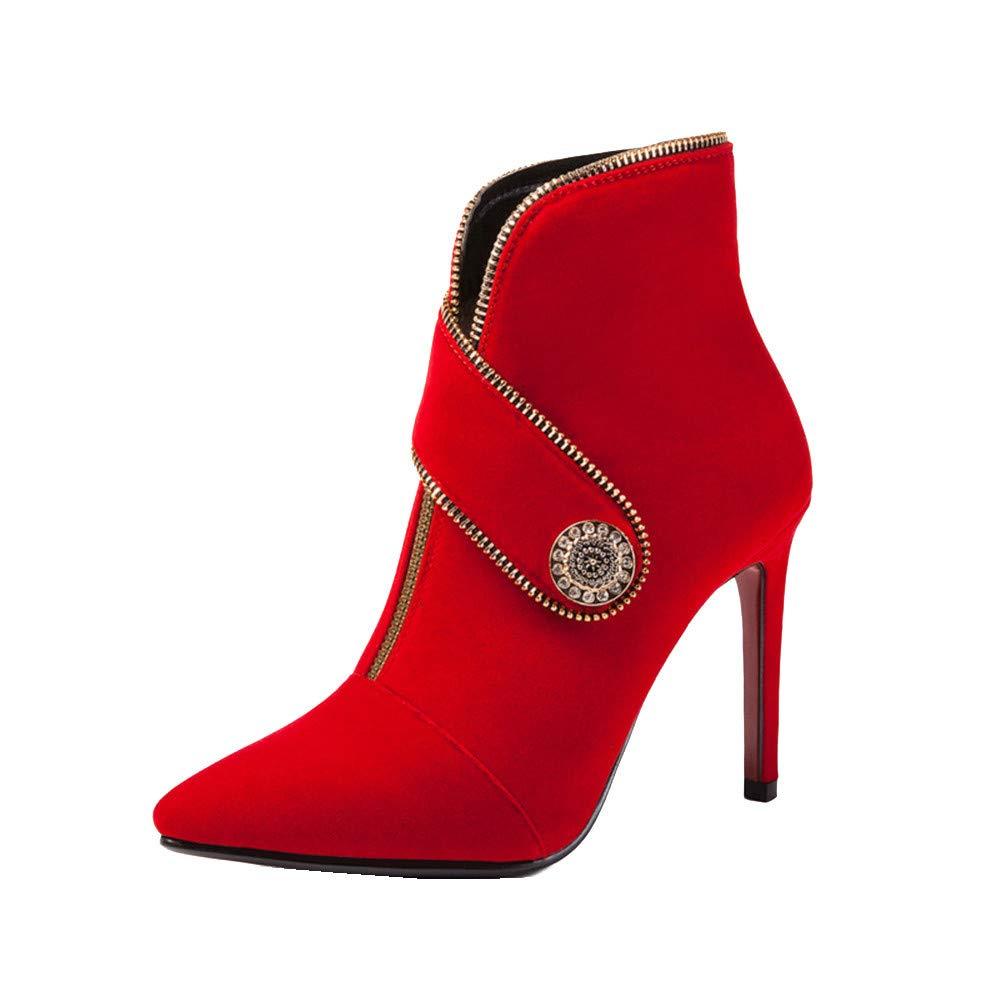 Shirloy Frauen Stiefel Herbst und Winter Frauen Schuhe Sexy Stiletto Hochhackige Spitzen Größe Metall Dekorative Martin Stiefel Schuhe