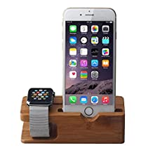 Kaimao Bamboo Wood Apple Watch Stand Holder Charging Cradle Docking Station for Iwatch with 38mm and 42mm amd iPhone 5 / 5s / 6 /6 plus / 6s
