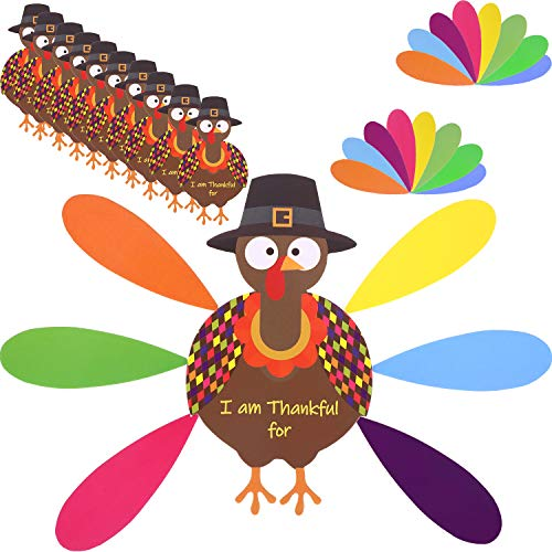 Jetec 10 Pieces Thanksgiving Turkey Craft Paper Turkey with 60 Pieces Colorful Feathers and Dot Glues for Thanksgiving Party Craft Activities
