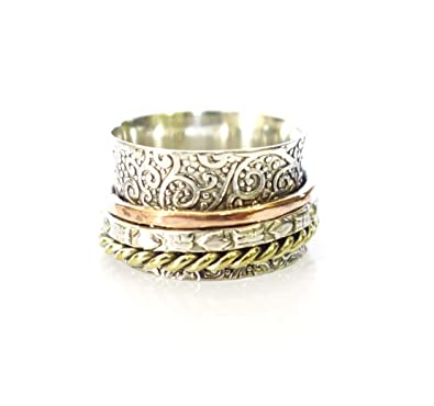 1c644995e .925 Sterling Silver Base Brass Copper Multi Color Spinner Bands Filigree  Design Gothic Fashion Handmade Jewelry Thumb Ring for Women and Men \ US  Size 8.5
