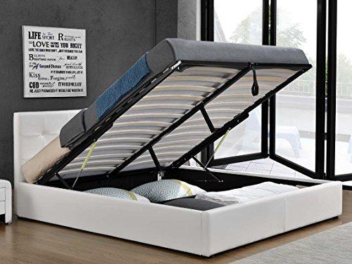 Doppelbett Bettkasten Klappbett Polsterbett Bettgestell Bett Lattenrost Kunstleder (140x200cm, Weiß)