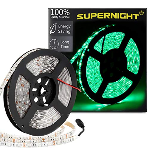 (SUPERNIGHT Green LED Light Strip, SMD 5050 16.4ft 5M Led Flexible Ribbon 300 Leds 60Leds/M Rope Lighting IP65 Waterproof)