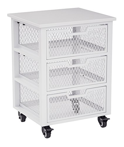 OSP Designs CLY03AS-11-osp Clayton 3 Drawer Rolling Cart In Metal Finish Frame, White (3 Drawer Designs Office)