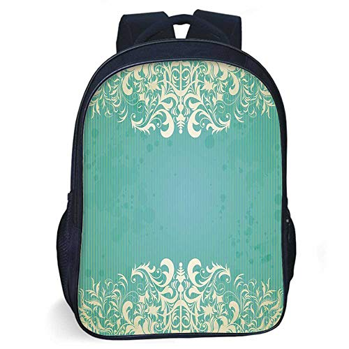 (Vintage Stylish Backpack,Old Fashioned Frame with Grungy Ancient Floral Curlicues Baroque Revival Motifs Decorative for Daily Use,11.8