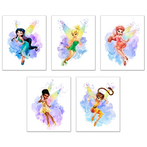 Disney Fairies Wall Art Prints - Set of 4 (8x10) Cute Poster Photos - Girls Bedroom Nursery - Tinkerbell, Silvermist, Iridessa, Videa, Fawn, Queen Clarion, Terence ()