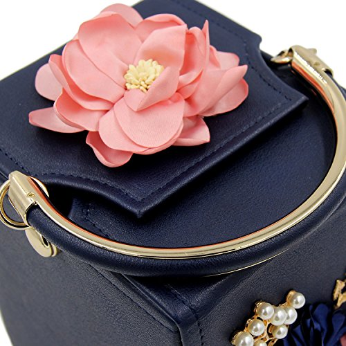 Evening Purse Clutches Blue SUNROLAN Box Bag Handbag Wedding Women's Flower Party Beaded PAACwvYq