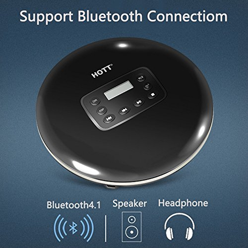 HOTT Bluetooth 4.1 Portable CD Player Built-in 1000mah Rechargeable Battery, with LED Display, Headphone Jack, Personal CD Music Disc Player for Kids Adults Students (Black)