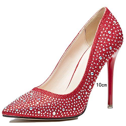 Punta del De Profundas Tarde Honor Mujeres Rojo On Aguja De La De Plata Oro Sexy Las Diamantes Poco Slip Novia De Dedo Dama De Tacones Pie 40 En WKNBEU De 10cm del Sandalias Red Pxt8Xwnpqg