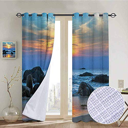 Blackout Curtains Beach,Sunset Scenery in Sandy Beach with Rocks and Waves Lonely Peace Morning Dream Earth,Blue Yellow,Thermal Insulated Panels Home Décor Window Draperies for Bedroom a52