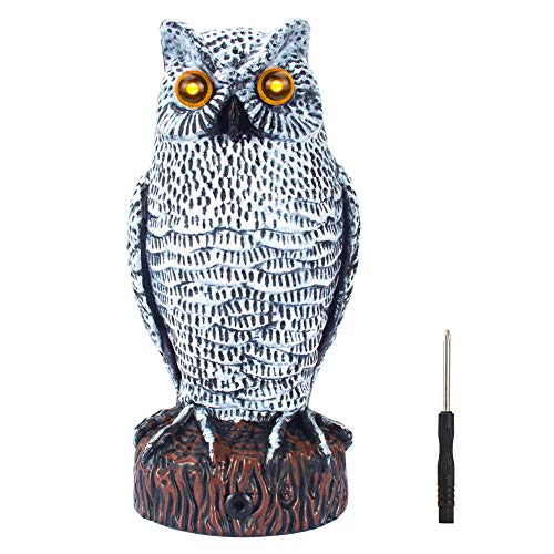 VENSMILE Fake Owl Decoy to Scare Birds Away Plastic Bird Repellent Pigeon Deterrent Garden Motion Activated Scarecrow Predator to Keep and Control Rabbit Squirrel (Grey)