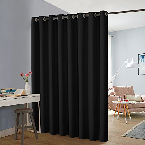 PONY DANCE Room Divider Curtains - Privacy Slider Curtain Partitions Light Block Extra Large Grommet Drape Screens Bedroom & Office Space Shared, 1 Panel, 9ft Tall x 15ft Wide, Black