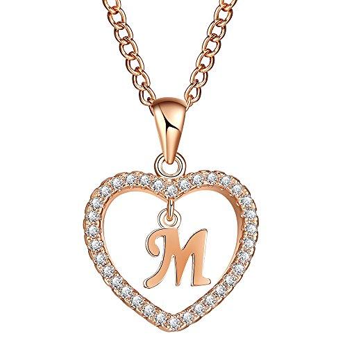 FineMe Initial Heart Necklace Letter A-Z Necklace Heart Love Necklace CZ Cubic Zirconia Pendant for Women Girls