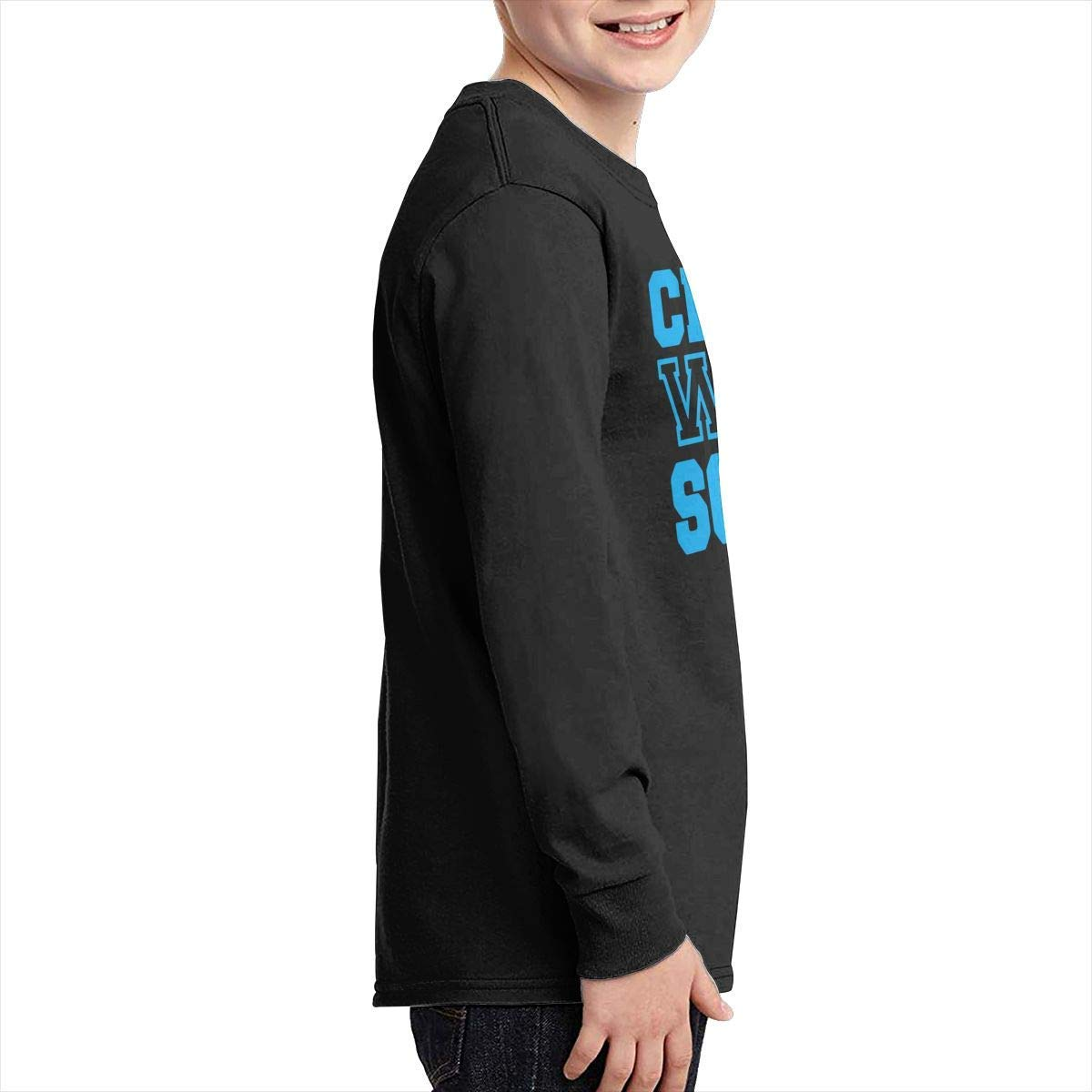 Youth Fit Long Sleeve Crew Neck Cotton Crawl Walk Soccer Basic Tee for Youth