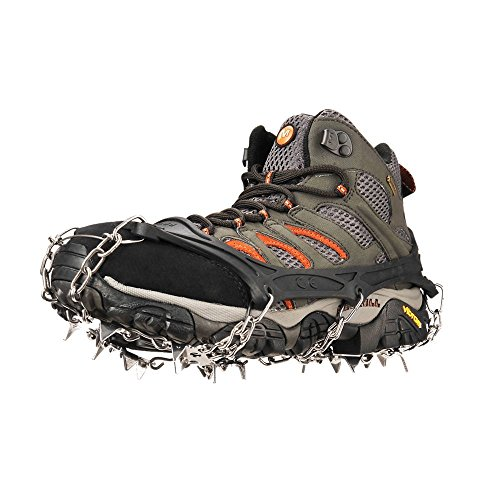 szlzhsm 19 Spikes Crampons Universal Flexible Anti-Slip Ice Grips Snow Traction Cleats Ice Spikes Crampon with Stainless Steel Chain for Climbing Hiking