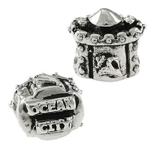 Ocean City Sandcastle - 925 Sterling Silver Charm Bead - Perfect Summer Beach Vacation Travel Souvenir and Gift
