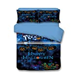 Pumpkin Lanterns Duvet Cover Set - 100% Polyester Festival Decorations 3D Designs Halloween Gifts Duvet Cover and Fitted Sheet Twin