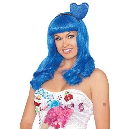 Candy Girl Blue Heart Costume Wig Adult Pop Star Halloween Fancy Dress (Star Girl Halloween Trailer)