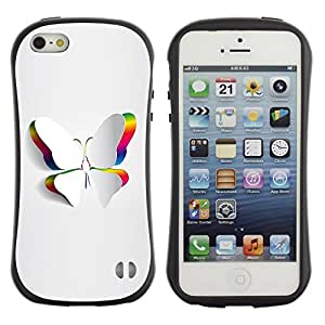 Paccase / Suave TPU GEL Caso Carcasa de Protección Funda para - Minimalist Beautiful White Butterfly - Apple Iphone 5 / 5S