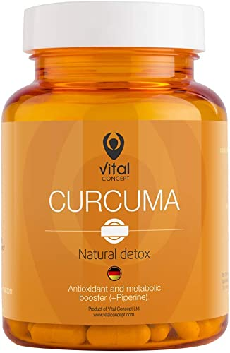 Vital Concept Curcuma – Organic Turmeric, Curcumin Black Pepper 95 Helps Immune System Bones Natural Detoxification Antioxidant Effect Promotes Metabolism 60 Veg Caps, 30 Days Supply