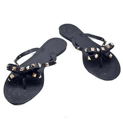 TAISFY Women Bow Rivets Flip-Flops Sandals Bowtie Jelly Thong Flats Rubber Beach Rain Slippers | Shoes