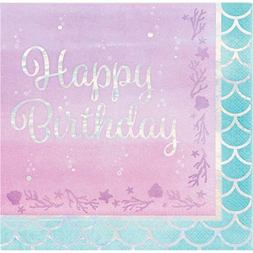 (Iridescent Mermaid Party Happy Birthday Napkins, 48 ct)