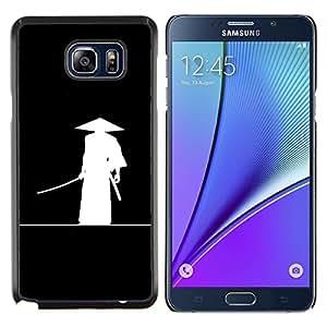 """Be-Star Único Patrón Plástico Duro Fundas Cover Cubre Hard Case Cover Para Samsung Galaxy Note5 / N920 ( Chino antiguo guerrero Sombrero Negro blanco del arte"""" )"""