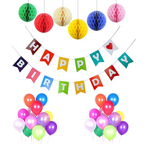[43PCS Birthday Party Decorations kit Happy Birthday Banner With Set Of 6pcs beautiful Tissue Pom Pom Decorations Ball and 36pcs ultra thickness Balloons] (Happy Birthday Party Kit)