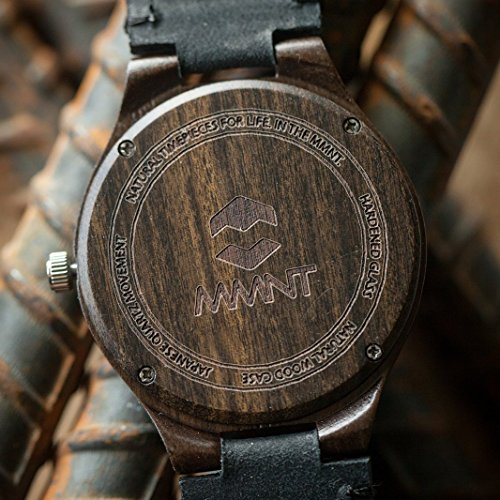 Quantum MMNT Men's Dark Wooden Watch w/Genuine Brown Leather Strap and Japanese Analog Miyota Quartz Movement by MMNT Watches (Image #5)