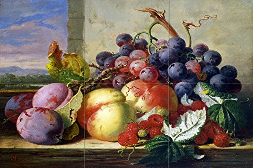 Still life fruit grapes peach plum raspberries by Edward Ladell Tile