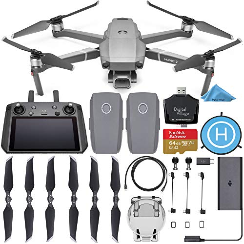 DJI Mavic 2 Pro Drone Quadcopter with Smart Controller with 2 Batteries + SanDisk Extreme 64GB SD Card + Landing Pad + Card Reader and 1-Year Warranty