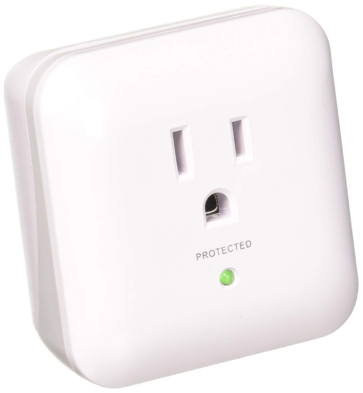 Monoprice 1 Outlet Surge Protector with End of Service Alarm, 900 Joules, White