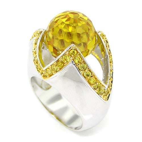 Golden CZs 2-tone Large Cocktail Sterling Silver Ring with a Catching Style