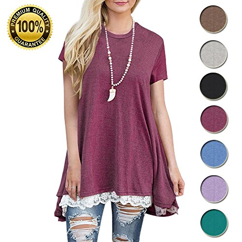 Women's Casual Lace Tunic Tops Short Sleeve Loose Blouse Scoop Neck A-Line Shirt (US 4-20)