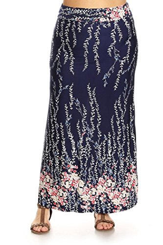 Womens Plus Size Floral Print, Full Length Skirt MADE IN USA (3X, Navy/White Leaf/Pink White - Length Print Full Leaf