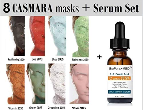 8 X CASMARA Mask Premium Complete Package + 1 Modeling Mask Mixing Spatula and 1 of #1 Best Organic Vitamin CE+Ferulic Serum by BioPureMED