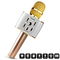 Hmovie Wireless Microphone Karaoke Pro, 4-in-1 2600mAh Bluetooth Aluminium Alloy Karaoke Machine KTV for Apple iPhone Android Smartphone or Pc