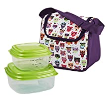 Fit & Fresh Kids Morgan Lunch Bag Kit with Reusable Container Set, Hoot Owl