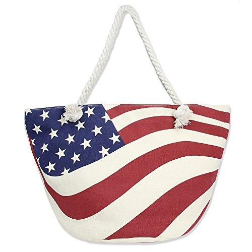 (Me Plus Summer Large Beach Tote Bag Zipper Closure Braided Rope Handles Inner Pocket (USA Flag)