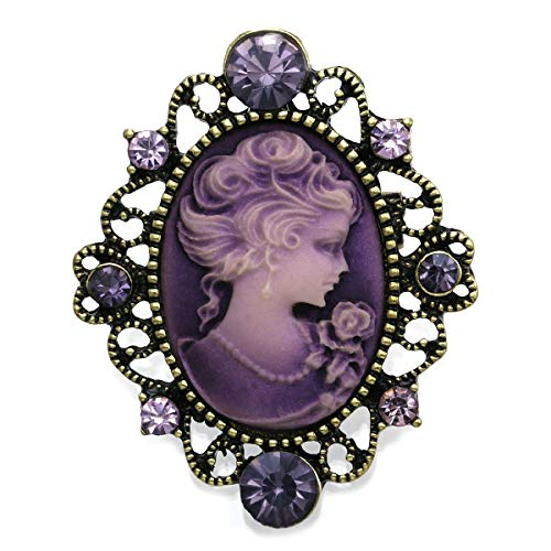 Cameo Pin Pendant Jewelry Necklace - Soulbreezecollection Lavender Purple Cameo Brooch Pin Charm for Women Necklace Pendant Compatible