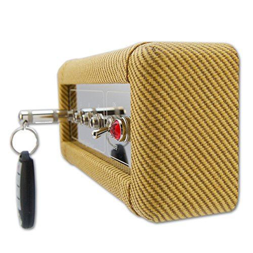 Guitar Amp Wall Key Holder with 4 Keychains. Amp Inspired. American Made by DropLight Ind. (Tweed)