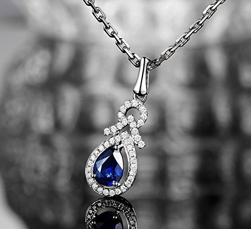 Solid 18k White gold Pendant,0.25ct SI-H Diamond pendant for necklace,1.01ct pear Natural Blue Sapphire,pave set
