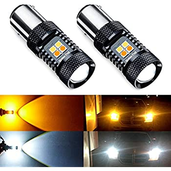 ANTLINE Extremely Bright 1157 2057 2357 7528 BAY15D P21/5W Switchback LED Bulbs White/Yellow 3030 Chipsets with Projector for Turn Signal Lights (Pack of 2)