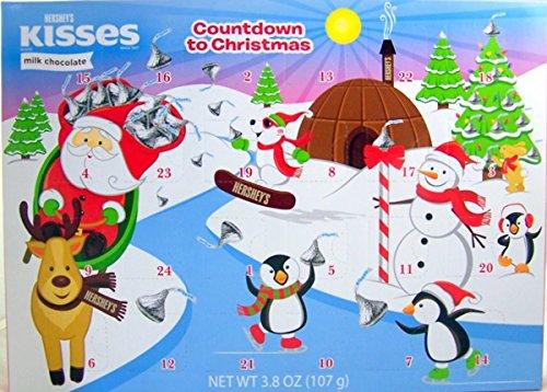 2017 Hershey's Kisses Milk Chocolate Christmas Advent Countdown Calendar with Candy, 3.8 oz (Calendar 2017 Advent)