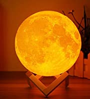 NEXITLIFE Moon Lamp Lighting Night LED 3D Printing Warm and Cool White Dimmable Touch Control Brightness USB Charging, Rechargeable Home Decorative for Baby kids gift with wooden stand